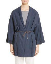 Fabiana Filippi - Suede & Cotton Blend Kimono Jacket - Lyst
