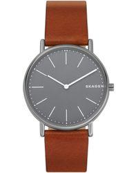 Skagen - Signatur Slim Leather Strap Watch - Lyst