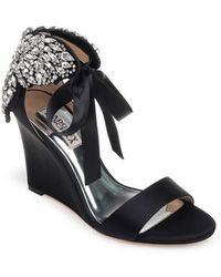 Badgley Mischka - Heather Crystal Embellished Wedge - Lyst