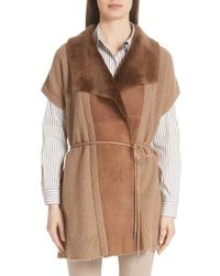 Lafayette 148 New York - Shearling Trim Wool & Cashmere Vest - Lyst