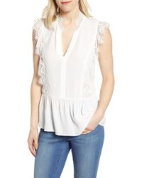 40917b45161 Forever21 · Gibson - X International Women s Day Hoang-kim Eyelash Lace  Detail Sleeveless Top - Lyst