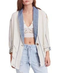 Free People - Aria Denim Collar Blazer - Lyst