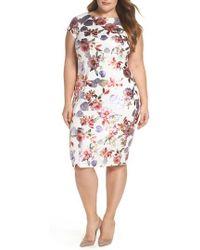 Eci - Foil Print Sheath Dress - Lyst