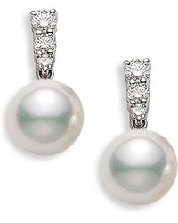 Mikimoto - 'morning Dew' Akoya Cultured Pearl & Diamond Earrings - Lyst