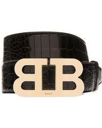 Bally - Mirror Buckle Embossed Leather Belt - Lyst
