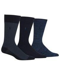 Polo Ralph Lauren | Supersoft Bird's Eye Assorted 3-pack Socks, Blue | Lyst