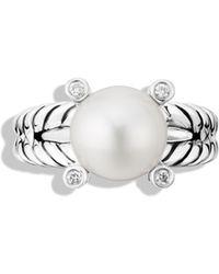 David Yurman - Cable Pearl Ring With Diamonds - Lyst