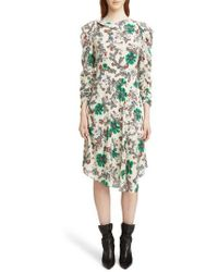 Isabel Marant - Carley Ruched Sleeve Silk Blend Dress - Lyst