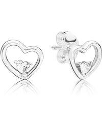 PANDORA - Asymmetrical Hearts Of Love Stud Earrings - Lyst