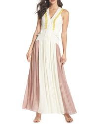 Harlyn - Colorblock Pleated Gown - Lyst