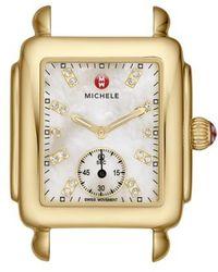 Michele - Deco 16 Diamond Dial Gold Watch Head - Lyst