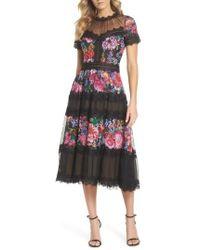 Tadashi Shoji - Lace Floral Midi Dress - Lyst