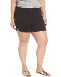 Seven7 - High Rise Stud Detail Denim Shorts - Lyst