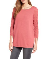 Chaus - Pointelle Sleeve Sweater - Lyst