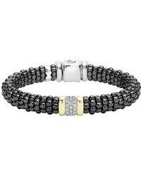 Lagos - 'black Caviar' Diamond Rope Bracelet - Lyst