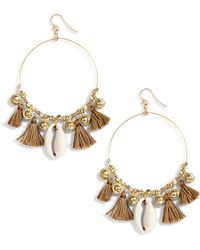 Chan Luu - Tassel & Cowry Shell Hoop Earrings - Lyst