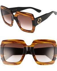 Gucci - 54mm Square Sunglasses - Havana - Lyst