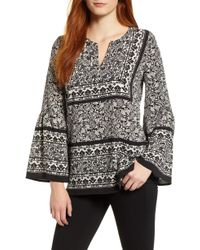 Chaus - Woodblock Paisley Bell Sleeve Blouse - Lyst