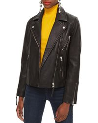 TOPSHOP - Dolly Leather Biker Jacket - Lyst