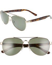 0251ba71517ee Tory Burch - 57mm Polarized Aviator Sunglasses - Lyst
