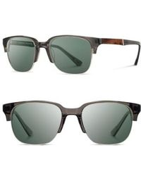 Shwood - 'newport' Sunglasses - Charcoal/ Elm Burl/ Grey - Lyst