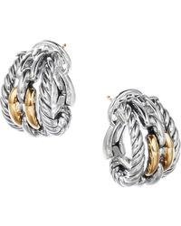 David Yurman - Wellesley Sterling Silver & 18k Yellow Gold Chain Link Hoop Clip-on Earrings - Lyst