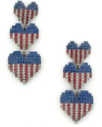 Elizabeth Cole - Patriotic Crystal Drop Earrings - Lyst