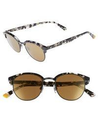 Web - 49mm Half Rim Sunglasses - Shiny Gunmetal/ Brown Mirror - Lyst