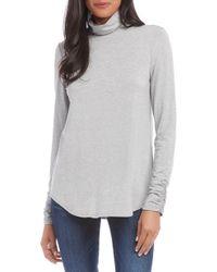 Karen Kane Shirred Sleeve Turtleneck Top - Gray