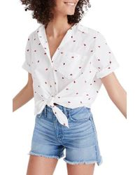 Madewell - Strawberry Embroidered Tie Front Shirt - Lyst