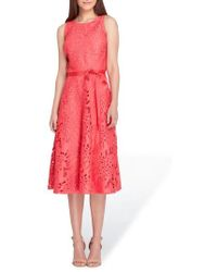 Tahari - Tropical Leaf Lace A-line Dress - Lyst