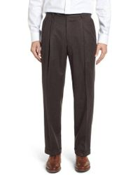 Berle - Pleated Solid Wool Trousers - Lyst