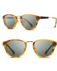 Shwood - 'ainsworth' 49mm Acetate & Wood Sunglasses - Amber/ Gold/ G15 - Lyst