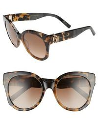 Marc Jacobs - 53mm Gradient Lens Cat Eye Sunglasses - Dark Havanna - Lyst