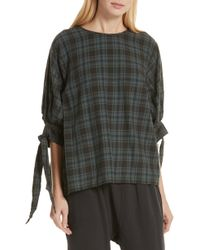 The Great - The Bow Sleeve Plaid Shirt - Lyst