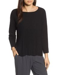 Eileen Fisher - Ribbed Bateau Neck Sweater - Lyst