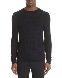 Emporio Armani | Slim Fit Woven Links Sweater | Lyst