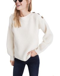 Madewell - Boat Neck Button Shoulder Sweater - Lyst