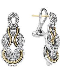 Lagos | 'newport' Diamond Knot Earrings | Lyst