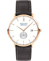 Movado - Heritage Silhouette Leather Strap Watch - Lyst