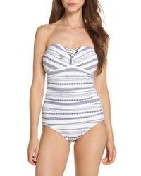 Tommy Bahama - Sand Bar Stripe Shirred Bandeau One-piece Swimsuit - Lyst