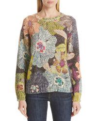 Etro - Floral Knit Cotton Blend Sweater - Lyst