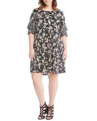 Karen Kane - Contrast Print Ruffle Sleeve Shift Dress - Lyst