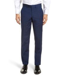 Ted Baker - Jerome Flat Front Solid Wool & Cotton Trousers - Lyst