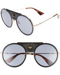 bd2f6d83bd Gucci Horseshoe Leather Arm Tortoiseshell Sunglasses - Lyst