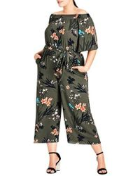 City Chic - Jungle Print Crop Jumpsuit - Lyst