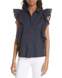 Kate Spade - Flutter Sleeve Button Down Cotton Blouse - Lyst