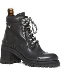 a05c04f043c Miu Miu - Lug-sole Leather Ankle Boots - Lyst