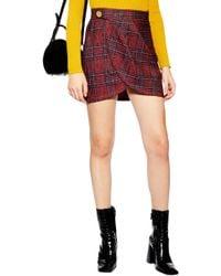 TOPSHOP - Tartan Boucle Miniskirt - Lyst