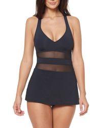 Bleu Rod Beattie - Mesh Accent Skirted One-piece Swimsuit - Lyst